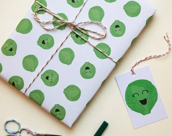 Brussel Sprouts Wrapping Paper - Wrapping Paper - Christmas Wrapping - Gift Wrap - Christmas Gift Wrap - Brussel Sprout - Brussel Sprouts