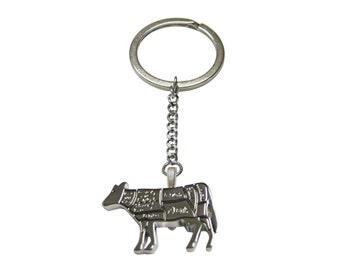 Beef Butchers Cut Pendant Keychain