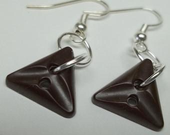 vintage espresso brown triangle button earrings,triangle button earrings,brown button earrings,brown espresso button earring,triangle button