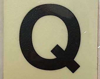 """Photoluminescent Door Identification Letter Q Sign Heavy Duty / Glow In The Dark """"Door Number"""" Sign Heavy Duty (Aluminum Sign 1.5 X 1.5)"""
