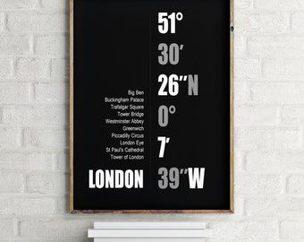London Coordinates Printable Wall Art - Typographic Print  - Printable Poster-Minimalist Design - Scandinavian - Nordic
