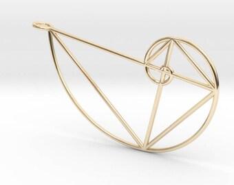 Large Right Golden Spiral Pendant