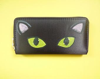 Black Cat Satin Zip around Wallet