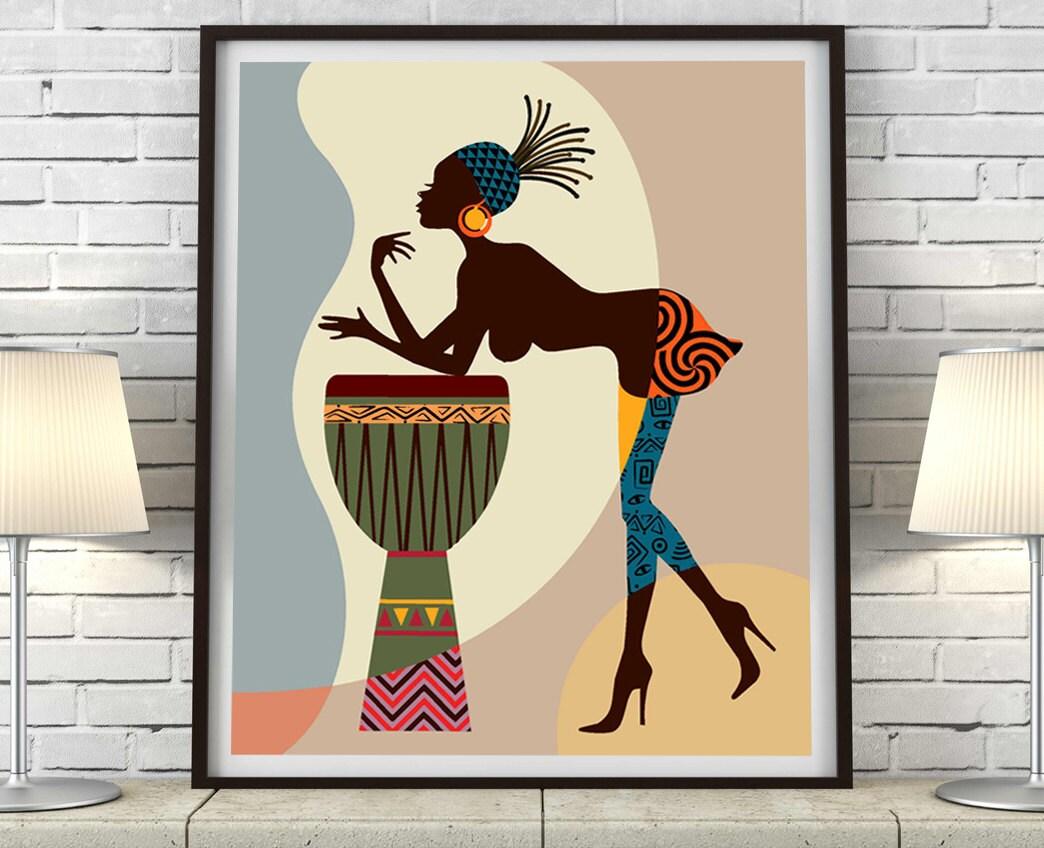 African American Art African wall Art Decor African Woman African Art painting Black Woman Painting Black Woman  sc 1 st  Lanre studio & African American Art African wall Art Decor African Woman African ...