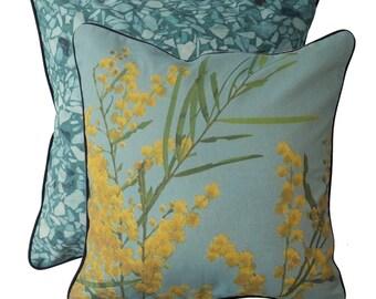 Blue Wattle cushion cover 45cm x 45cm