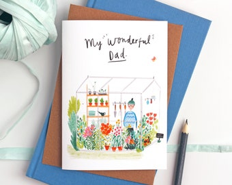Happy Father's day card for wonderful dads - Card for dad, Best Dad card, Father's day card, Gardener dads, dad card, Green fingered dads