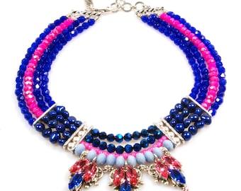 Swarovski statement necklace in cobalt blue fuchsia - unique bib necklace gypset style - bright colored - handmade - multi strand