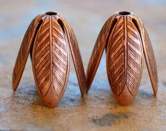 2 Grande Leaf 14mm Bead Caps Antique Copper