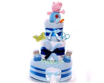George Peppa Pig Nappy Cake, baby boy nappy cake, nappy cake gift, nappy cake for a baby boy, 3 tier nappy cake, new baby gift boy,