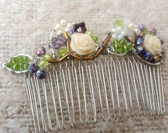 SALE Beautiful Rose Garden Hair Comb for Bridalwear - Prom  - Eveningwear