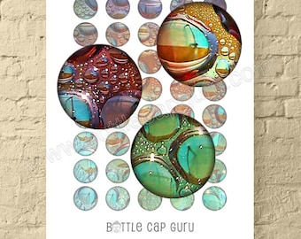 """BOHEMIAN WATER DROPS / 1 Inch Circles Digital Collage Sheet for Bottle Cap Jewelry Crafts / Printable Colorful Abstract 1"""" Round Download"""
