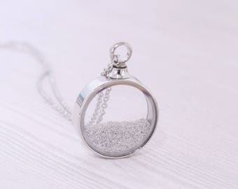 Stainless Memorial Glass Locket Pendant - Cremation Jewelry - Ash Necklace - Urn Necklace - Pet Memorial - Vial Necklace - Vial for Hair