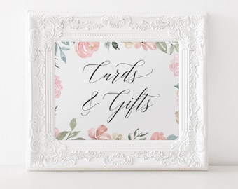 Cards and Gifts Sign, Cards and Gifts Printable, DIY Printable Wedding Signs, Gift Table Sign, Editable in Templett