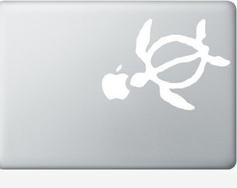 Honu Hawaiian turtle DECAL- macbook PC iPad computer- Gadget Art / Accessory - animal skin tropical Geek Chic perfect gift