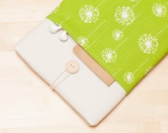 Macbook sleeve 12 inch, Laptop 12 inch case, Macbook air 11 sleeve padded with pockets -  Green dandelion