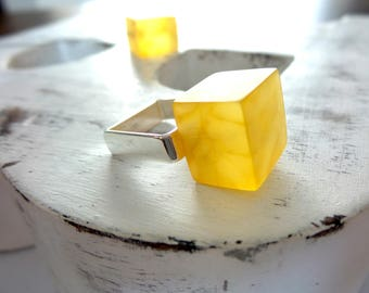 Baltic Amber Ring , Sterling Silver Ring , Modern Ring , Statement Ring .