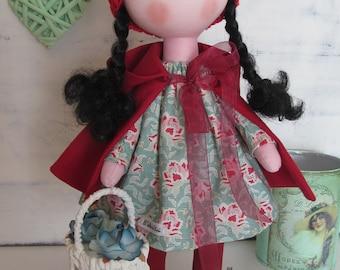 Red Riding Hood, handmade doll, rag doll, cloth doll, fabric doll, personalized doll, tilda doll, fabric doll handmade, gift for birthday