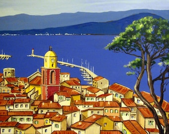 Original Painting, SAINT-TROPEZ, the Bay, French Riviera, South France, Village, Blue, Wall Art 18x24. Free Shipping in USA.