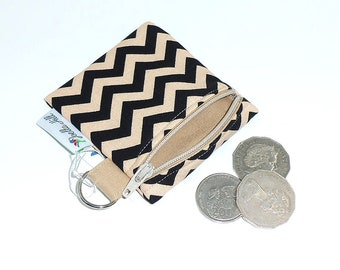 """Coin Purse for Keyrings Mini - Carry SD cards, USB sticks, coins, earbuds, lipgloss in """"Element Chevron"""" by Joella Hill Australian Seller"""