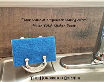 Horseshoe Kitchen Decor, Rustic Kitchen Decor, Horseshoe Sponge Holder, Western Kitchen Decor, Kitchen Decor