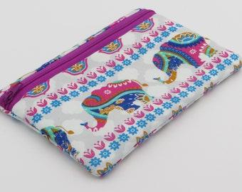 Cotton Zipper Pouch | Fully Waterproof Lined | Elephant Pattern