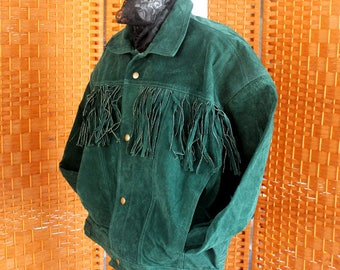Fringed Green Suede Leather Jacket, Women's Leather Coat, Size L