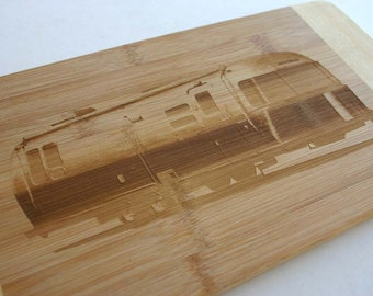 Air Stream Trailer Engraved Bamboo Wood Cutting Board Camping Gift Airstream RV