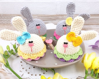Set of 4 Easter Bunny Egg Warmers, Gray and White Bunnies, Funny Egg Cozies, Spring Egg Cozies, Crochet Egg Hats, Easter Egg Warmers