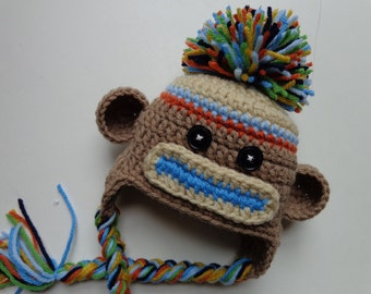 Newborn Crochet Sock Monkey Hat- Photo Prop- Blue and Orange