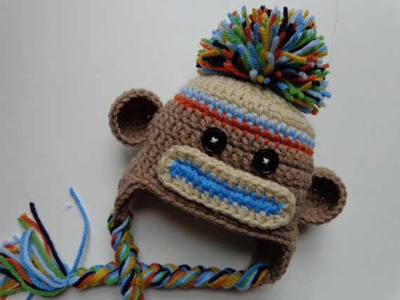 Newborn Crochet Sock Monkey Hat Photo Prop Blue And Orange