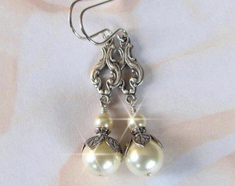 Bridal Earrings, Bridesmaid Earrings, Pearl Drop Earrings Vintage Style, Flower Girl, Junior Bridesmaid, Antique Silver Bridesmaid Jewelry