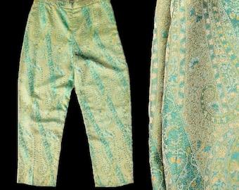 Oscar de la Renta Pants S 4, Designer Pants, Jacquard Pants, Paisley Pants, High Waisted Pants, Oscar de la Renta Capris, SIZE S 4