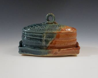 Stoneware Pottery Butter Dish in Rustic Blue Ridge Glaze