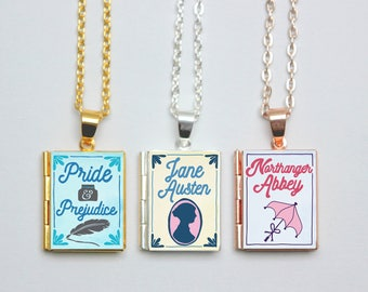 Jane Austen Book Locket Charms. Book Charm. Pride and Prejudice Necklace. Austen Jewellery. Literary Gift. Literary Wedding. Book Lover