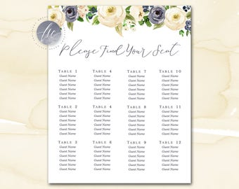 Wedding Seating Chart, Wedding Table Plan, Seating Plan, Table Assignment Chart, Seating Table Sign, Seating Chart Poster, Navy Cream Floral