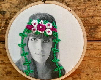 Cher - hand embroidery hoop art