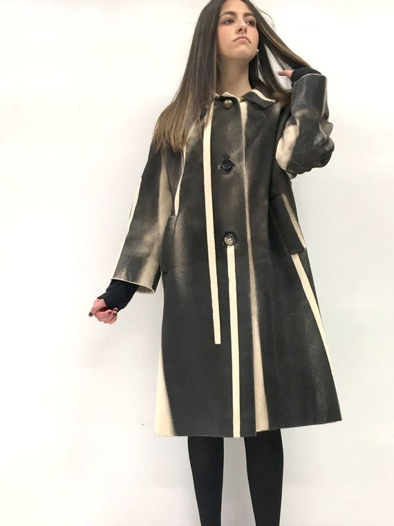 Cashmere Hand-painted LOLA DARLING Coat Black Brown and White Skin Effect MUTAZIONI  Made in Italy from Vintage Garment Base Limited Edition