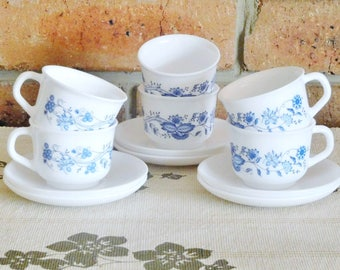 Arcopal France six espresso demitasse cups and saucers, blue and white floral design, 1970s, gift idea