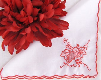Embroidered Cloth Cocktail Napkins Red Floral Fabric Leaf & Berry Embroidery Vintage Set 6