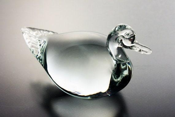 Art Glass, Mallard Duck, Paperweight, Clear Glass, Heavy Glass, Figurine, Collectible
