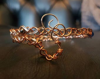 Plaited copper and silver-plated wire weave bangle with beads
