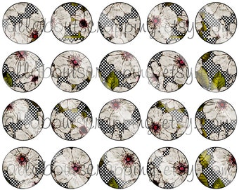 """1"""" Bottlecap Circles Digital Collage Sheet - Printable Shabby Chic Flowers For Bottlecaps Jewelry Cardmaking Magnets Stickers 0023"""