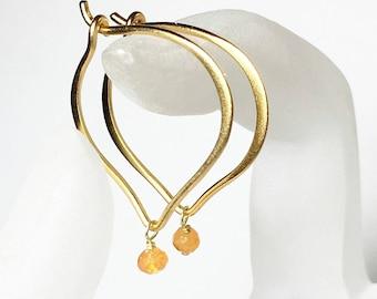 Gold Hoop Earrings, Carnelian Gemstone Lotus Ear Wires, Gifts for Her, Simple Earrings, Everyday Jewelry, Medium or Large