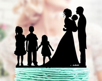 Family Wedding Cake Topper , Bride and Groom Cake Topper, Bride and Groom Cake Topper , Bride and Groom Cake Topper with Kids, Family Topper