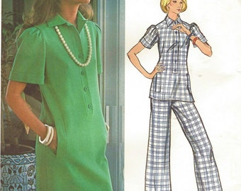 1970s Lanvin Womens Straight Shift Dress or Tunic and Pants Vogue Paris Original Sewing Pattern 2847 Size 14 Bust 36 UnCut Label Included