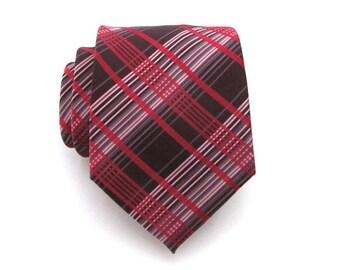 Mens Tie - Red and Brown Plaid Silk Necktie