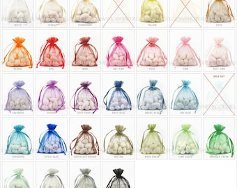 350 Organza Bags, 3 x 4 Inch Sheer Fabric Favor Bags, For Wedding Favors, Drawstring Jewelry Pouch- Choose Your Color Combo