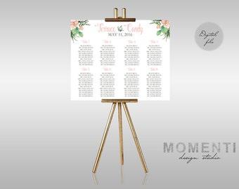 Printable wedding seating chart, Succulent peach seating chart, guest list printable, Seating chart printable desert theme, peach succulent