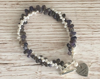 Ivory Fresh Water Pearl and Iolite Two Strand Bracelet UK Made
