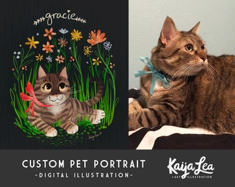 Custom Pet Portrait | Cat Portrait Illustration | Floral Art Print | Dog Portrait Illustration | Pet Loss Gift | DIY Digital Art Printable